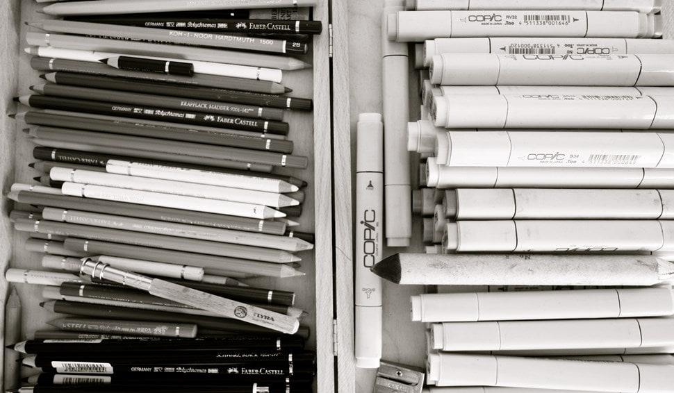 Im Atelier: Die Sammlung von Zeichenstiften - Einar Turkowski