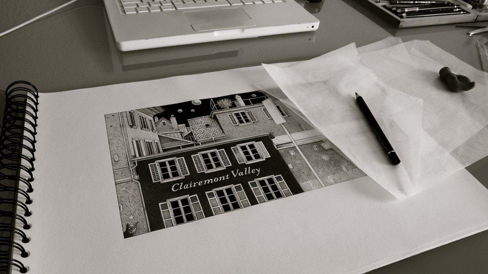 Im Atelier: Beim Zeichnen - Einar Turkowski