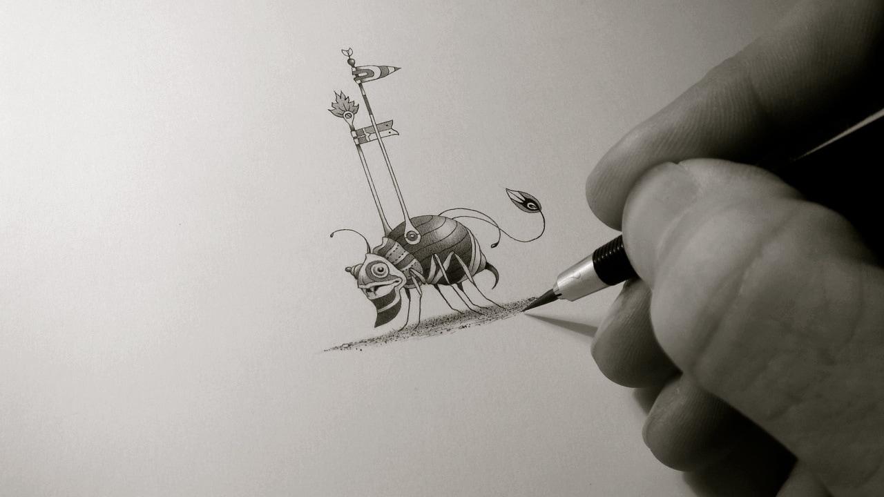 Im Atelier: Zeichnen eines Ritterkäfers - Einar Turkowski