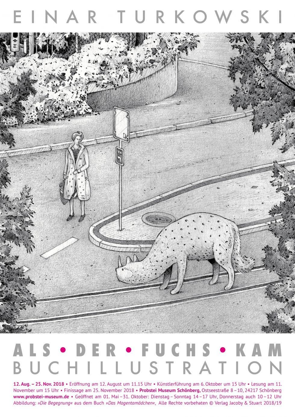 Plakat Ausstellung als der Fuchs kam - Einar Turkowski