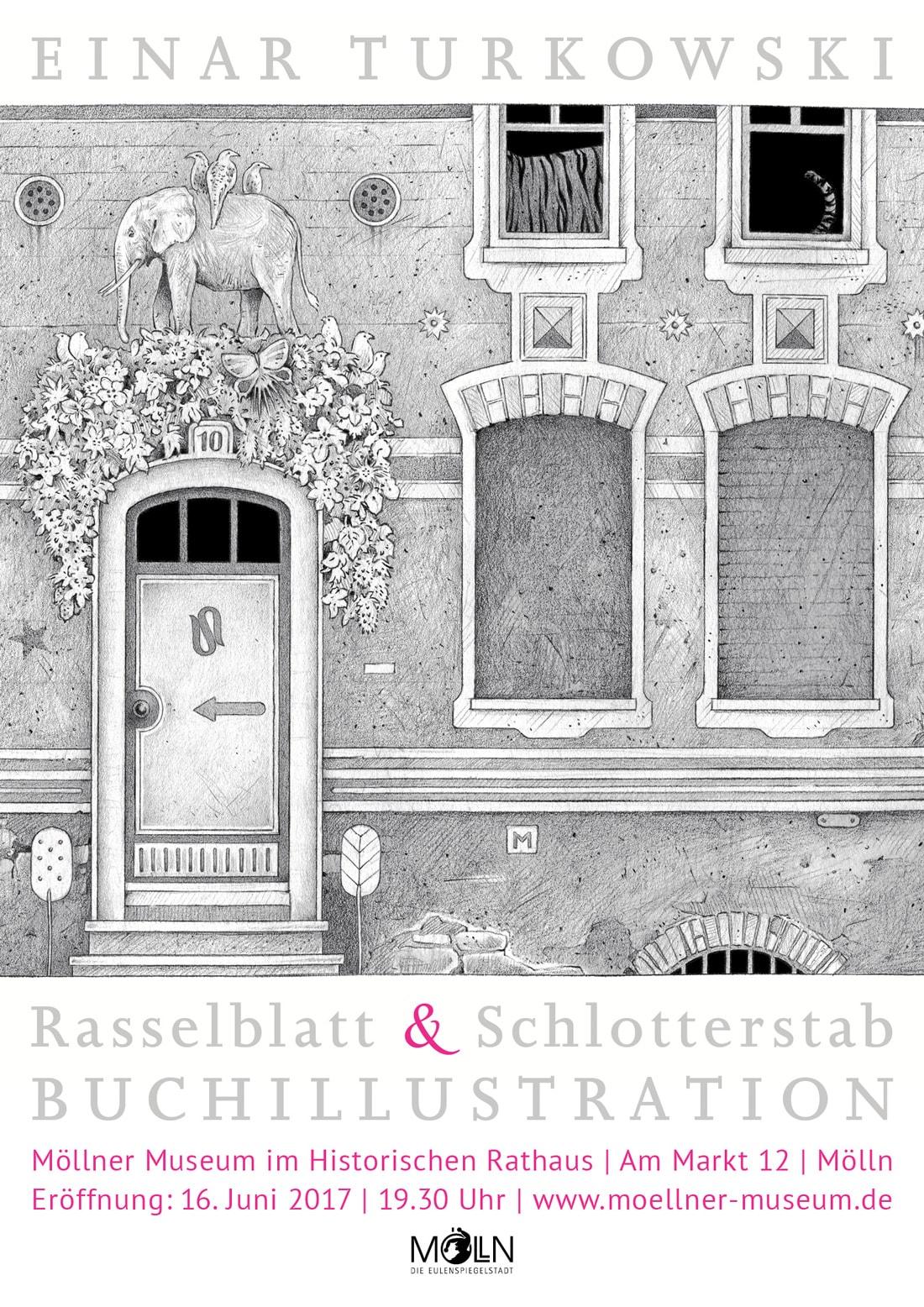 Plakat Ausstellung Rasselblatt und Schlotterstab Einar Turkowski