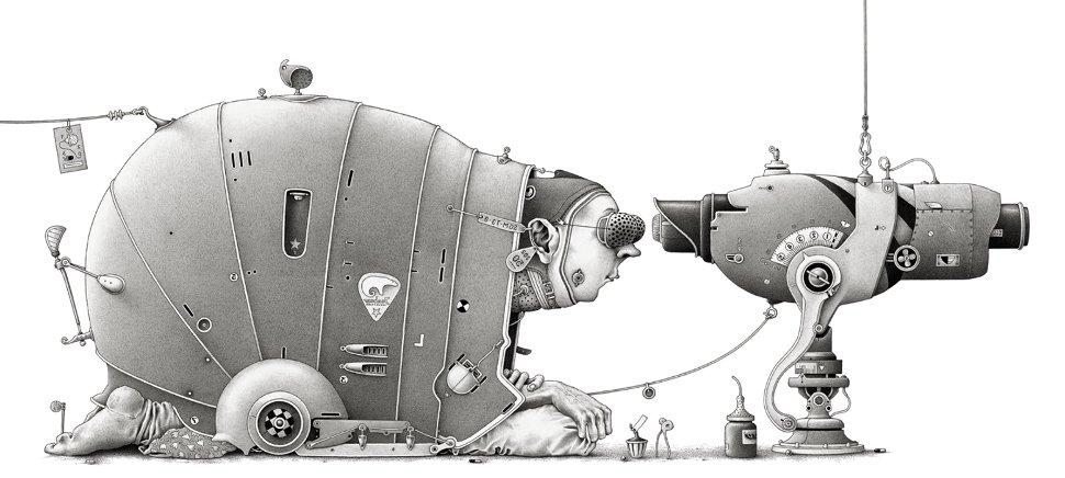 Im Atelier: Die fertige Zeichnung, der Beobachter - Einar Turkowski